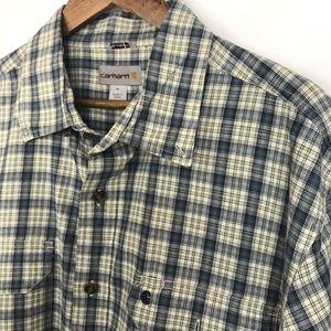 Carhartt Mens Plaid Button Front Shirt Size XL